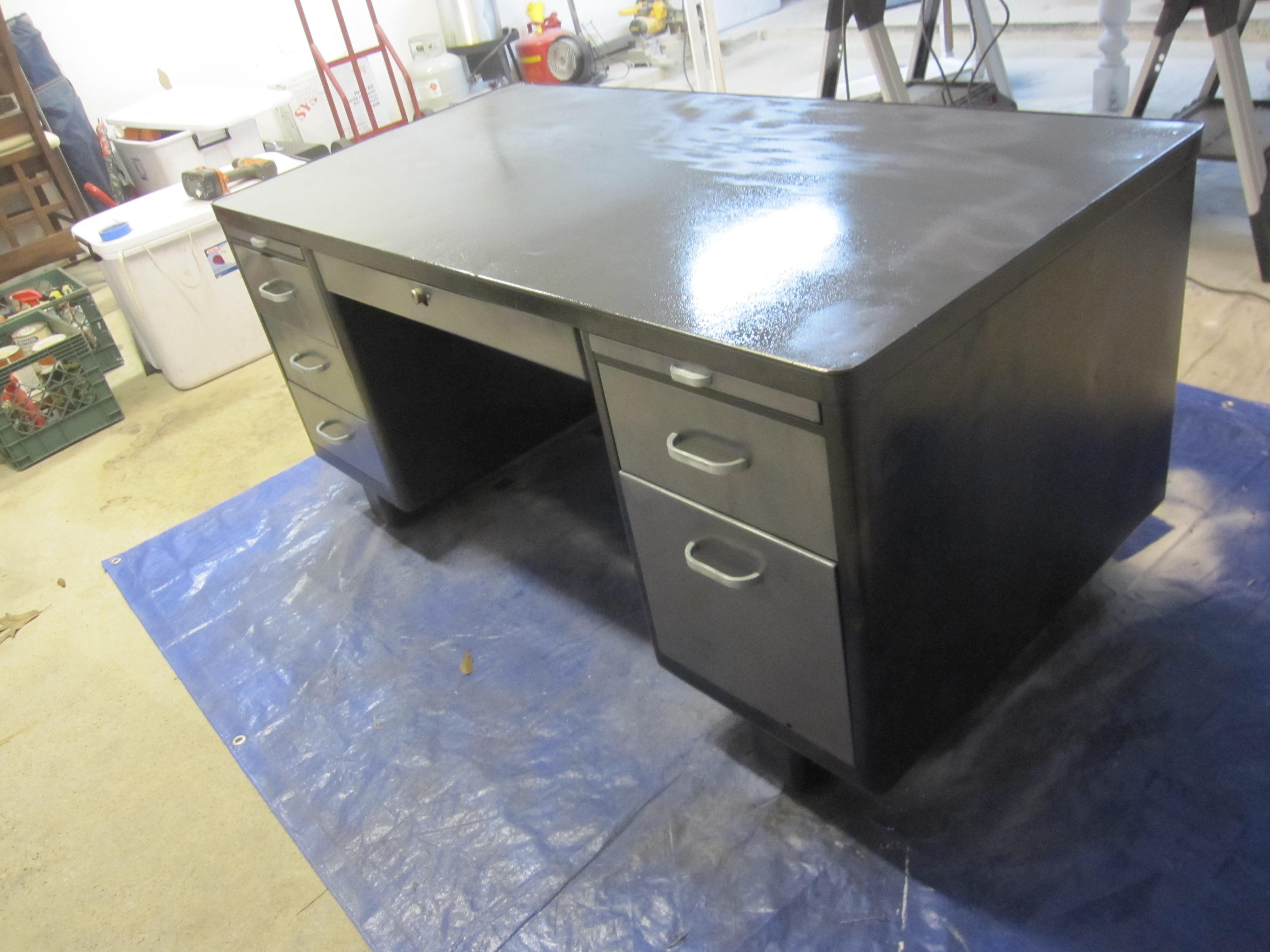 Uncategorized Vintage Steel Tanker Desk refinishing a steelcase tanker desk guide houston furniture drawers inside before finishing final paint coat